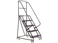 Steel Rolling Warehouse Ladder w/Handrails - 4 Step