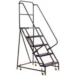 Steel Rolling Warehouse Ladder W Handrails 4 Step