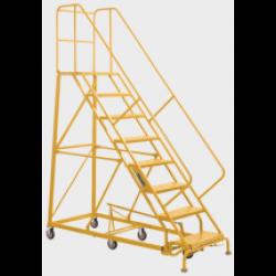 Heavy Duty Steel Rolling Warehouse Ladder 14 Step